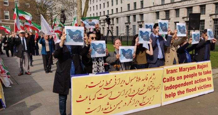 MEK supporters hold demonstration in London over Iran flood