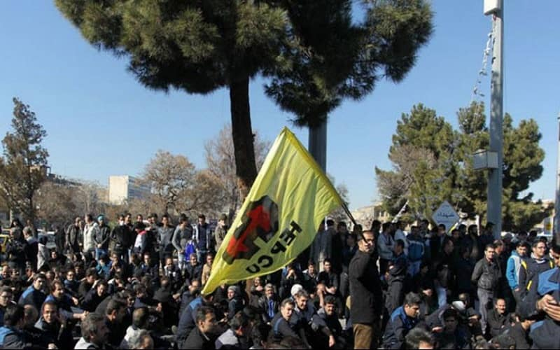 The workers from Heavy Equipment Production Company (HEPCO) in southern Iranian city of Arak held their third consecutive day of protest