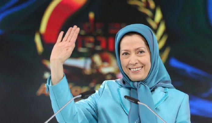 "Maryam Rajavi spoke in the Free Iran rally at Ashraf 3, the Albanian headquarters of the People's Mojahedin Organization of Iran (PMOI, Mujahedin-e Khalq or MEK), there was a conference entitled ""1988 Massacre in Iran"""