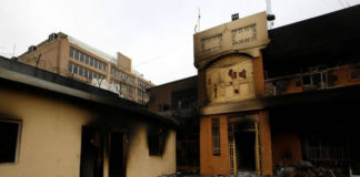 Photo of Iran's burnt consulate in Najaf, southern Iraq