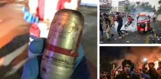 Iraq protests-Iran's tear gas
