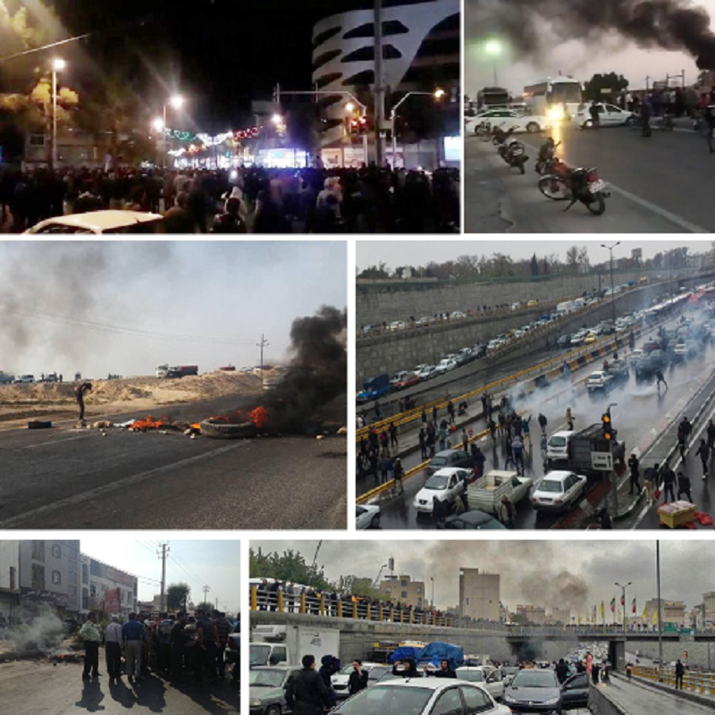 """Anti-regime protests have erupted across Iran, with chants of """"Death to the dictator,"""" after the regime tripled the price of gasoline."""