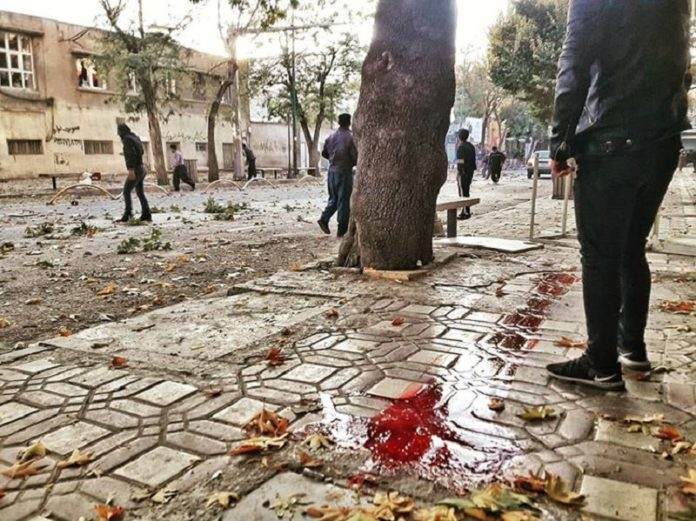 This is what was going on in Iran during mass protests. City of Marivan, blood of a protestor killed by IRGC