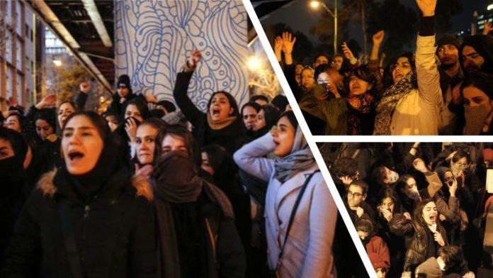 University students protest the Iranian regime's inhumane downing of the passenger plane-January 2020