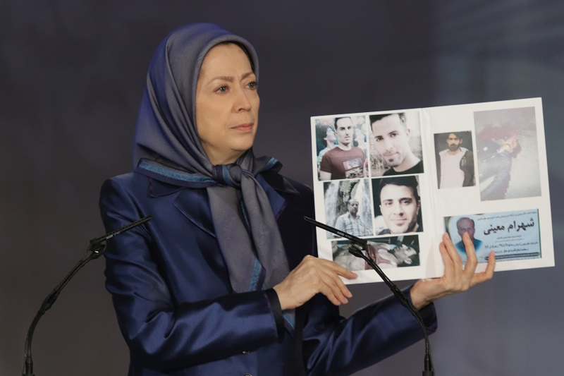 """Maryam Rajavi: """"In 48 hours, the November 2019 uprising dealt a major, devastating, and irreparable blow to the regime in its entirety. Angry protesters confronted the regime's suppressive forces by destroying the mullahs' centers of repression and plunder."""""""