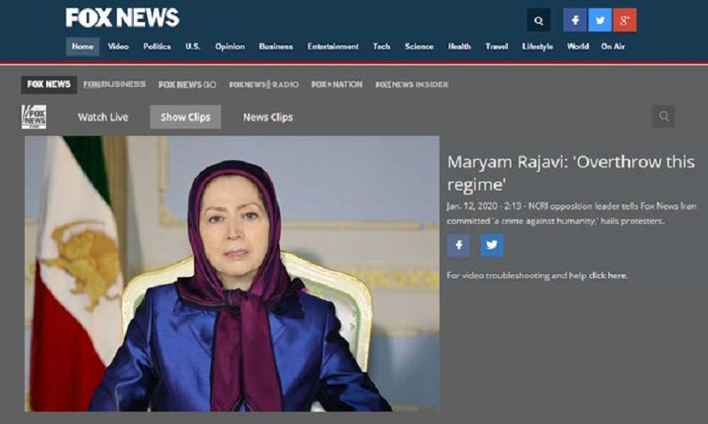 Maryam Rajavi underscored the Iranian people's desire for regime change during an interview with Fox News Channel on Sunday and called on the world to join the Iranian people in demanding freedom and democracy