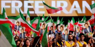 A large crowd of Iranians, supporters of MEK, show their solidarity with a free Iran
