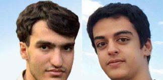 Arrested Iranian elite students Amir Hossein Moradi and Ali Younesi