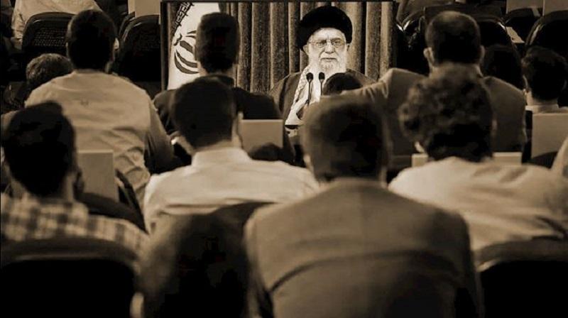 Iranian regime's Supreme Leader Ali Khamenei on a video conference with regime's Basijis