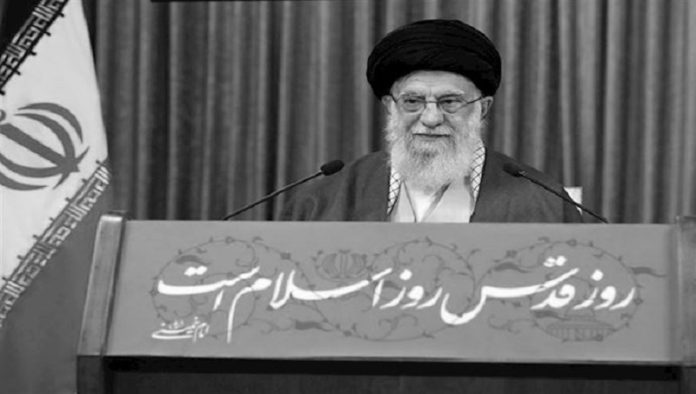 Iranian regime's supreme leader Ali Khamenei speaking on the so-called Qods Day, which was established by the regime's founder Khomeini to have an alibi for the regime interfere and global terror in other countries. The result of this policy can be seen in the present situation of Syria and Palestine.