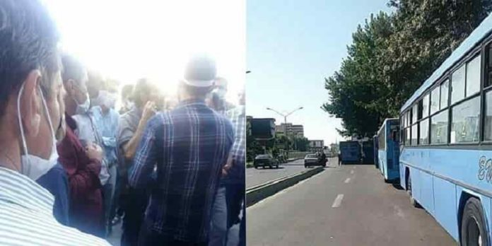 Bus drivers of Urmia went on strike on 3 August 2020, expressing their anger about the non-payment of their wages.