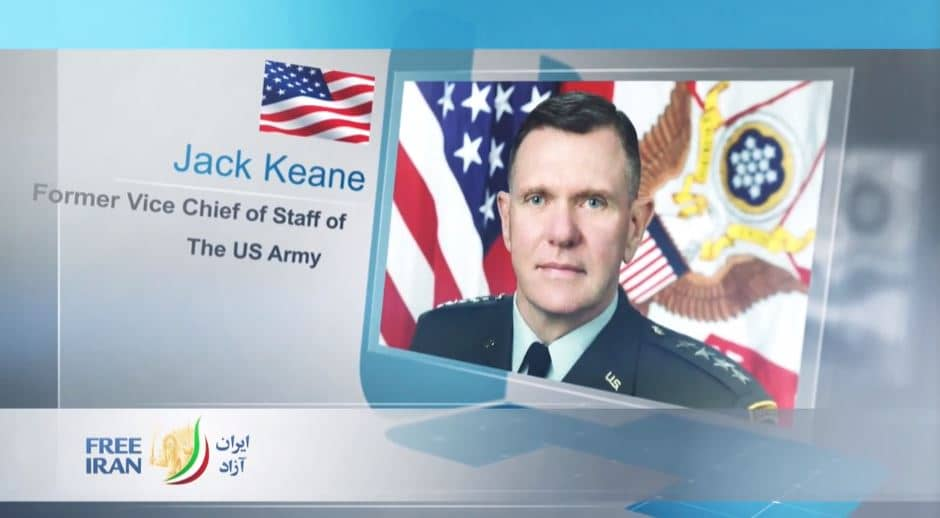 General Jack Keane, former Vice Chief of Staff of the United States Army, at the online event calling for international support for a free Iran, imposing sanctions targeting the regime & holding the mullahs accountable for their ongoing crimes
