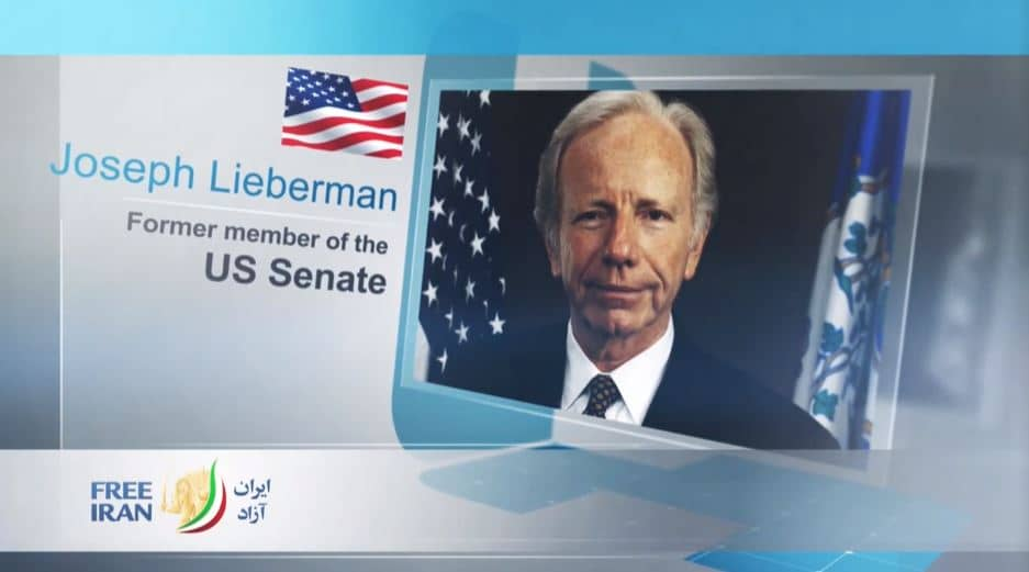 Joseph Lieberman, former U.S. Senator from Connecticut, at the online event calling for international support for a free Iran, imposing sanctions targeting the regime & holding the mullahs accountable for their ongoing crimes