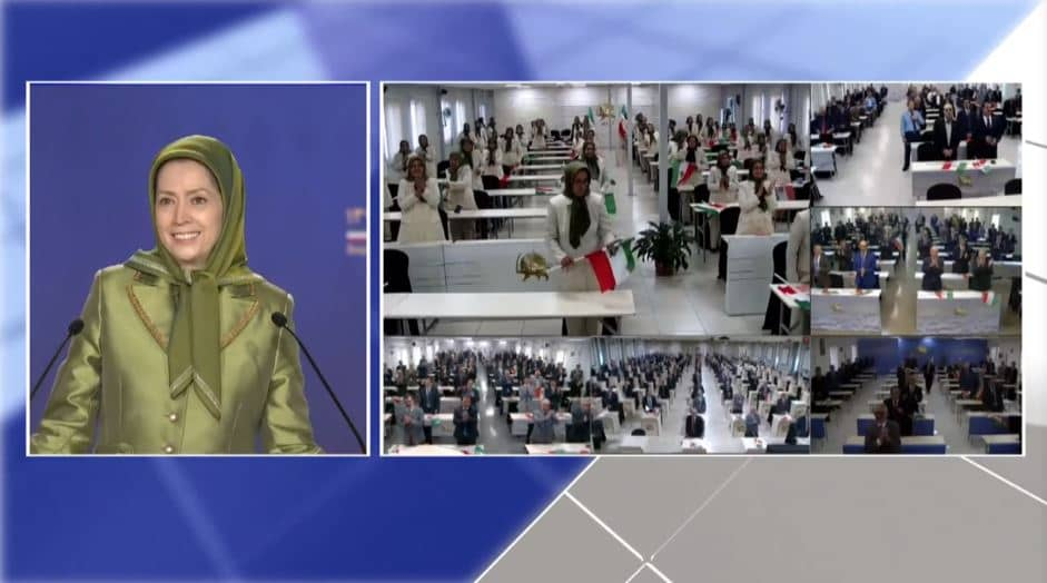 Maryam Rajavi, the President-elect of the NCRI, at the online event calling for international support for a free Iran, imposing sanctions targeting the regime, and holding the mullahs accountable for their ongoing crimes