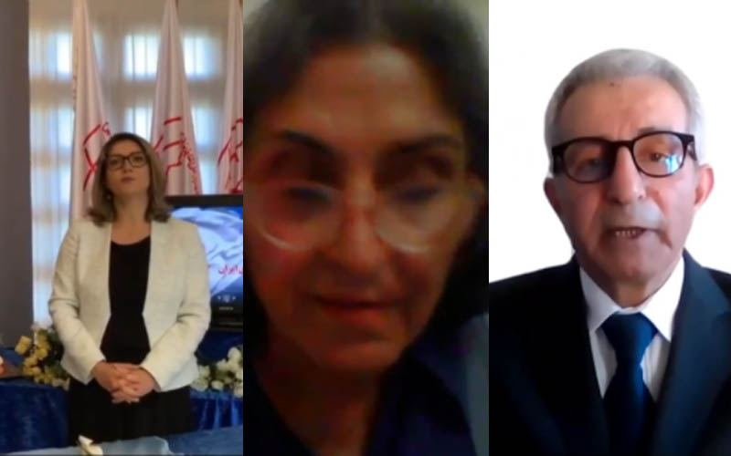 PMOI-MEK supporters in France at the Iranian online conference in support of domestic protests for freedom, justice, and equality in Iran—September 5, 2020