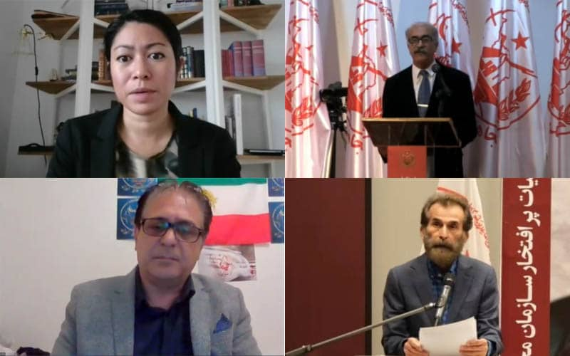 PMOI-MEK supporters in Sweden at the Iranian online conference in support of domestic protests for freedom, justice, and equality in Iran—September 5, 2020