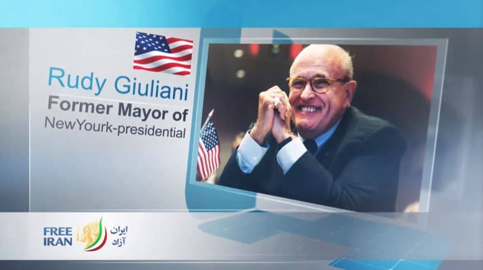 Rudy Giuliani, former Mayor of New York at the online event calling for international support for a free Iran, imposing sanctions targeting the regime and holding the mullahs accountable for their ongoing crimes