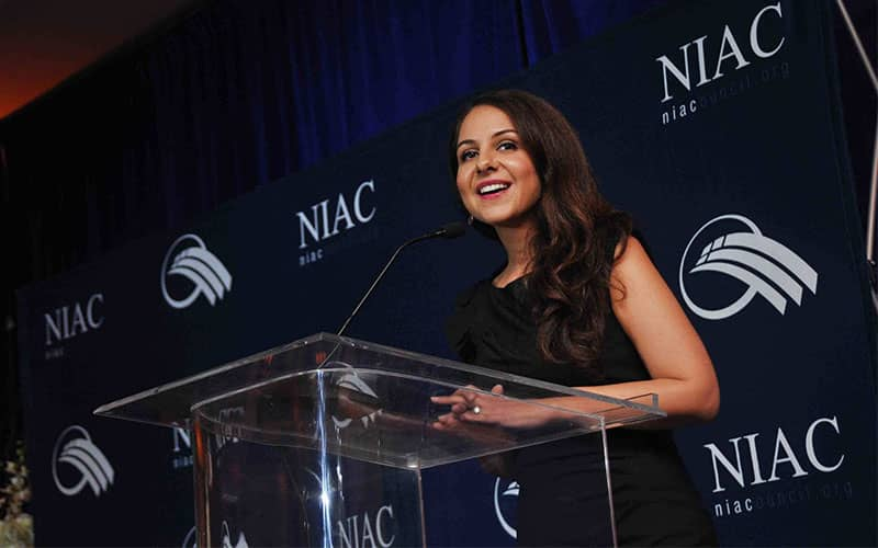 Lily Sarafan took the floor at a NIAC meeting and delivered her pro-regime remarks