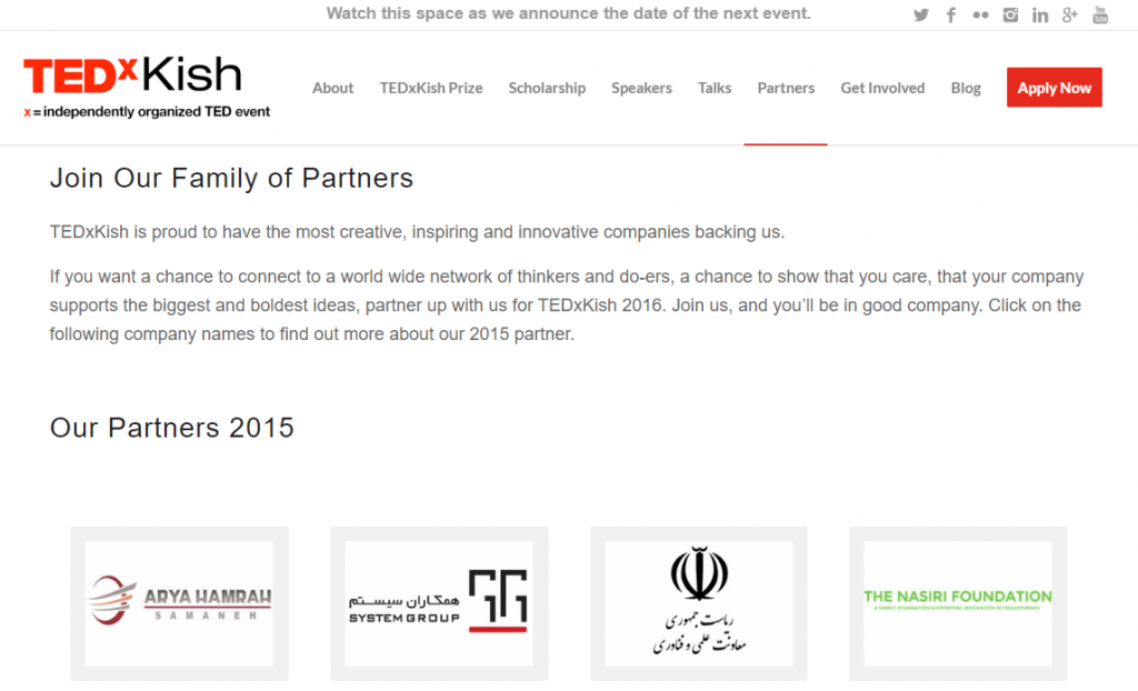 Iran's Vice-Presidency for Science and Technology was an event sponsor.  Source: http://tedxkish.com/2015-partners/