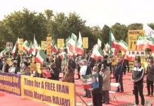 In tandem with the Iranian opposition online conference against practicing the death penalty in Iran, members of the Iranian community in Germany held a gathering in Brandenburg Gate to show their support for the NCRI.
