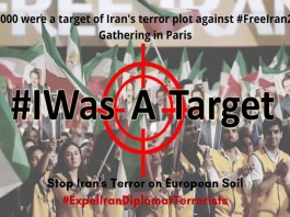 On November 22, Iranian diaspora launched a twitterstorm by #IWasATarget, expressing their dismay over the EU's silence about Iran's terror.