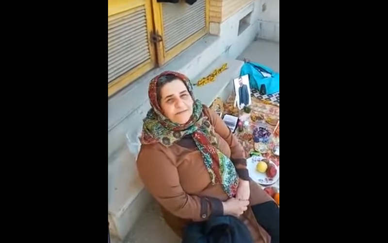 Farangis Mazloum, the mother of political prisoner Soheil Arabi, set up a Haft-Sin next to the Gohardasht prison for her son.