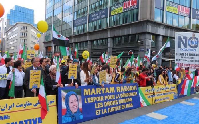 MEK/PMOI supporters protests against the regime in Iran