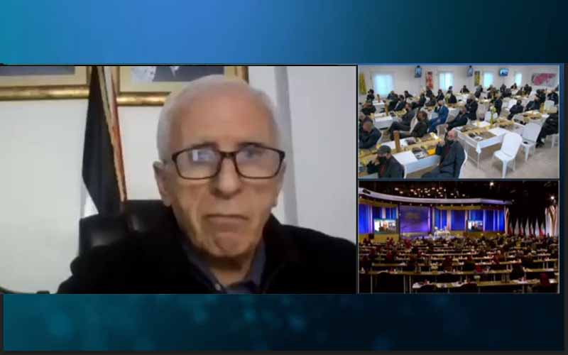 Azzam Alahmad, head of the Fatah faction in the Palestinian Parliament, at the international online session marks Ramadan