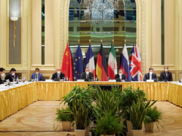 The negotiation table of the JCPOA agreement between Iran and the world powers