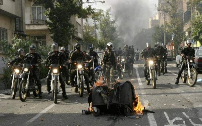 Iran's Basij force suppressing the people's protest (Image: Archive)