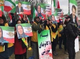 Iran's MEK supporters protests against the regime terrorism.