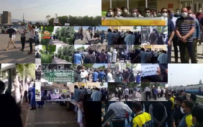On Sunday, April 25, the people of Iran held at least 22 rallies,protests, and strikein various cities, venting their anger over the government's plundering and profiteering policies.