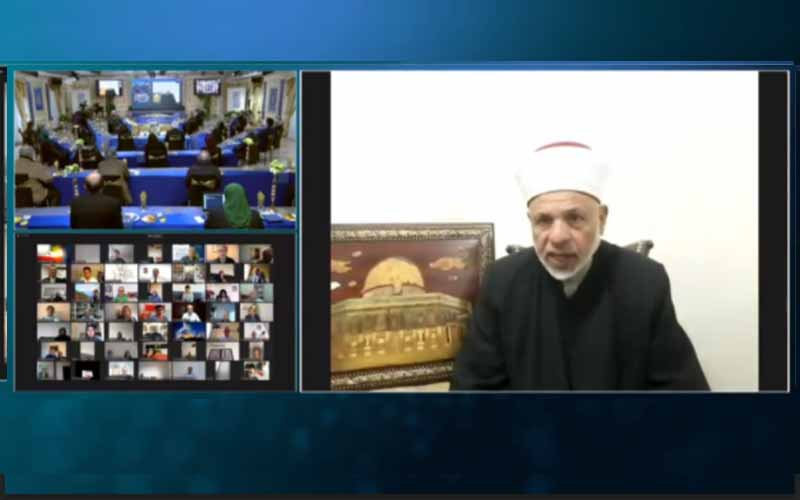Sheikh Taissir Tamimi, chief Islamic judge of the Palestinian National Authority (PNA), at the international online session marks Ramadan—April 14, 2021