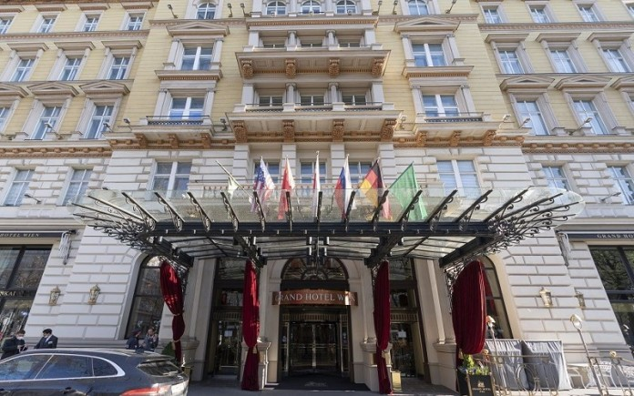 Grand Hotel Wien' in Vienna, Austria, where closed-door nuclear talks with Iran take place.