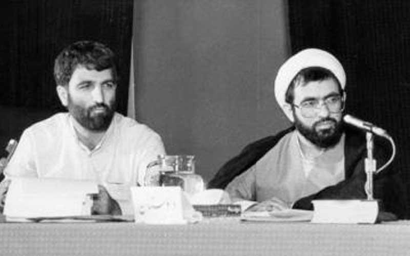 From left: Gholamhossein Mohseni Ejei, the case interrogator; and Ali Fallahian, the then-Prosecutor for the Special Court for Clerics; at the Seyyed Mehdi Hashemi court in 1987.