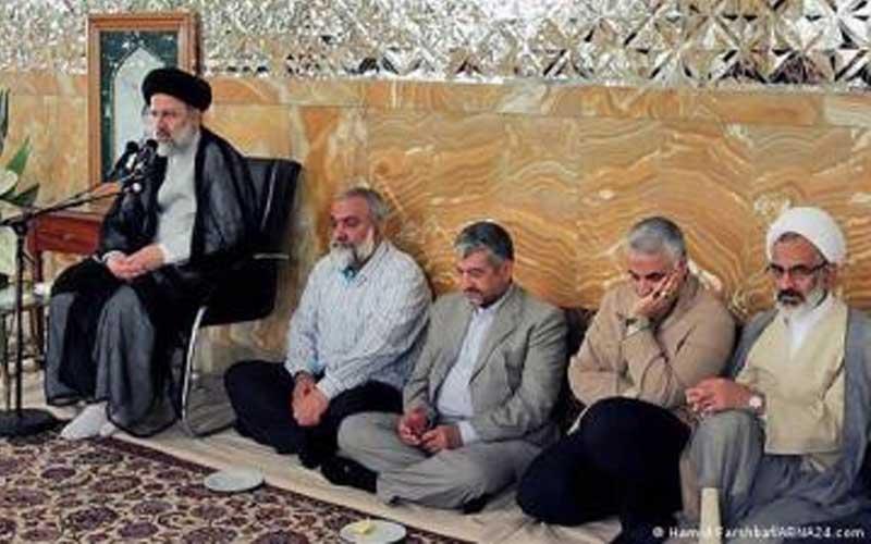 From left: Ebrahim Raisi, Judiciary Chief; Mohammad-Reza Naqdi, IRGC coordinator; Mohammad-Ali Aziz Jafari, the former IRGC commander-in-chief; Qassem Soleimani, the former IRGC Quds Force commander; Abdollah Haji Sadeghi, the Supreme Leader's representative in the IRGC