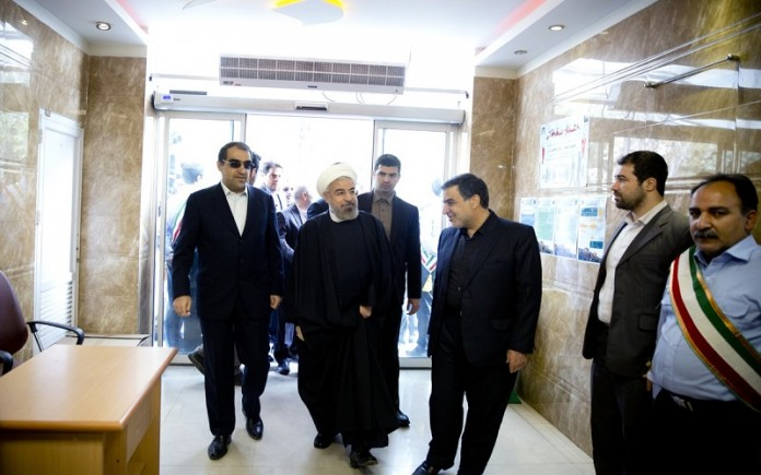 Hassan Rouhani, Iran regime's president visits a hospital
