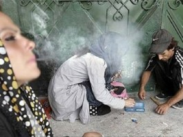 Scene of addiction under the clerical rule in Iran