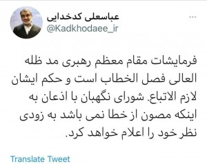 Guardian Council Secretary Kadkhodaei says the council is not immune from mistakes.