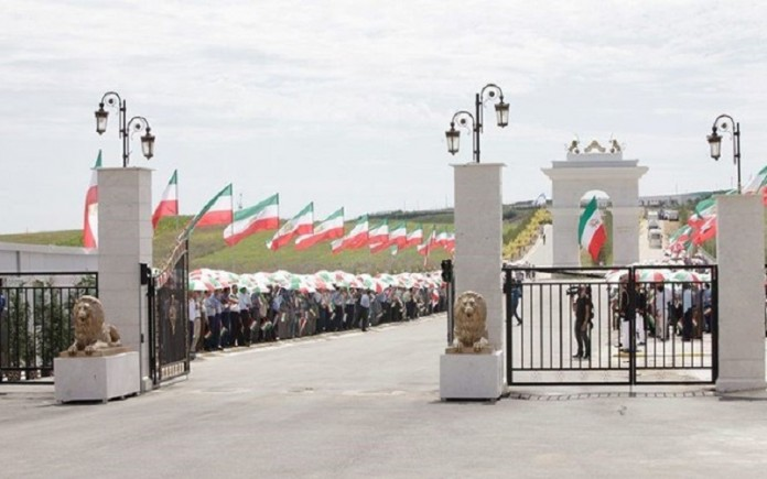 The entrance of Ashraf 3, home to about 3000 members of the People's Mojahedin Organization of Iran (PMOI/MEK) in Albania.