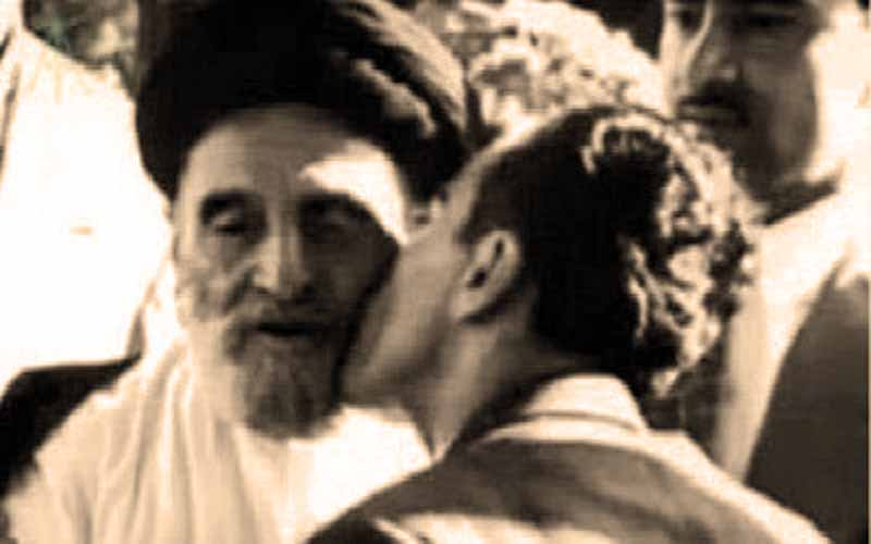 Shah Mohammad Reza Pahlavi kisses the face of Abolqassem Kashani, the 1953 coup organizer