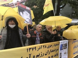 Thursday, September 23, 2021: MEK supporters demonstrated in front of the central court of Stockholm at the 20th session of Hamid Noury's trial, the executioner of the 1988 massacre.
