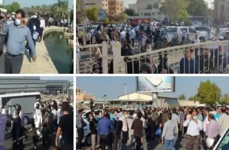 Iranian people in Bushehr held protests because of their dire livelihood conditions by criticizing the regime's president Ebrahim Raisi's arrival in Bushehr province, calling such trips of the president artificial and useless.